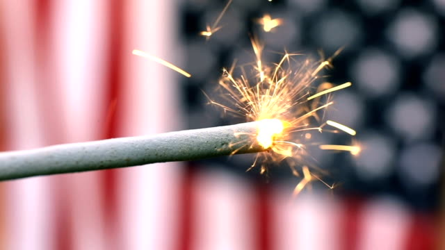 Slow Motion Sparkler and American Flag