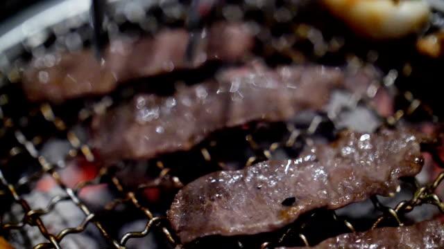 Slow motion Steak Beef grilling