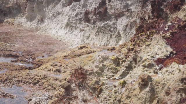 vídeos de stock, filmes e b-roll de slow motion: steam rising and water splashing among textured rock in el limon, dominican republic - pedra material de construção