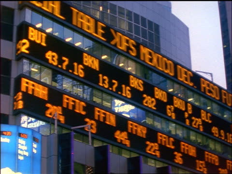 slow motion pan stock prices on ticker board on side of building / times square, nyc - trading screen stock videos & royalty-free footage