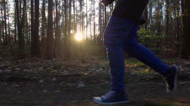 Al rallentatore : Tramonto nella foresta corsa