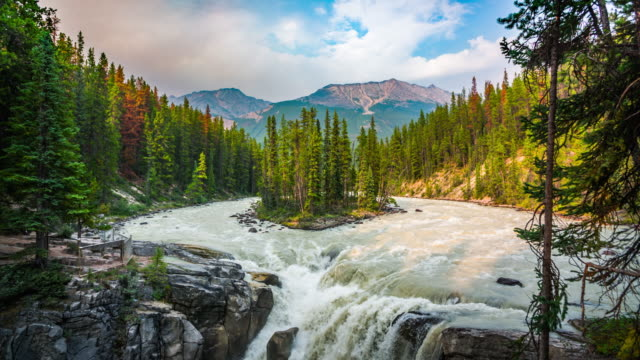 slow motion : sunwapta falls - tranquil scene stock videos & royalty-free footage