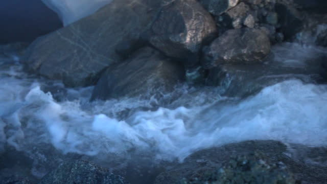 slow motion: swift stream in breathtaking ice cave, mendenhall glacier, alaska - stream body of water stock videos & royalty-free footage