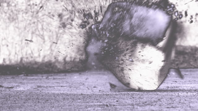 slow motion: television smashing on ground - cathode ray tube stock videos and b-roll footage