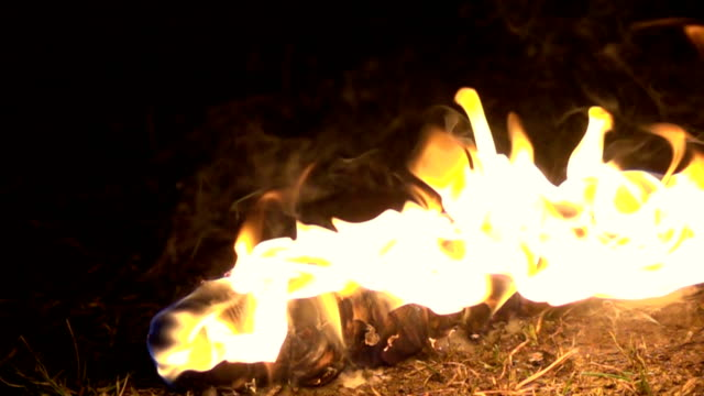 Slow motion: Torch flame fire