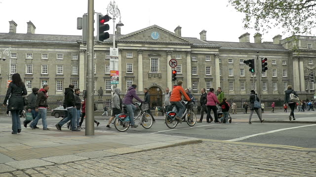 slow motion: trinity college, exterior, dublin, ireland - cambridge university stock videos and b-roll footage