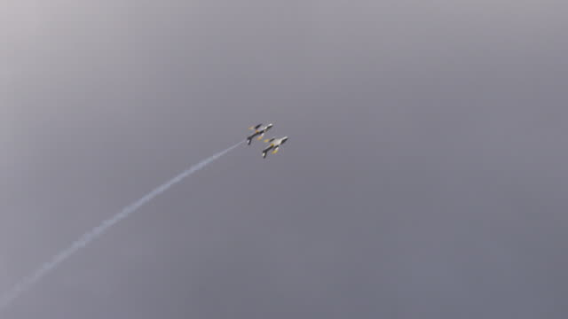 slow motion two f-86 sabre us military air force fighter jets fly close together at an air show, perform loop to loop over camera. - fighter stock videos and b-roll footage