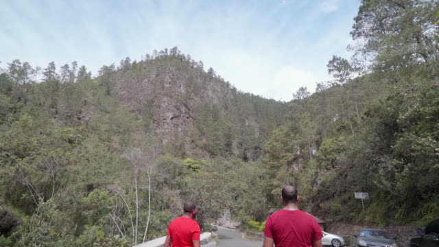 slow motion: two men walking away from on road surrounded by trees - dominican republic stock videos and b-roll footage