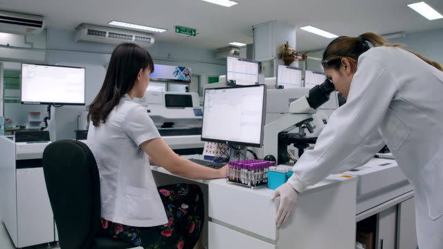vídeos de stock e filmes b-roll de 4k slow motion two scientists walking talking about research trial summary in the laboratory - investigação genética