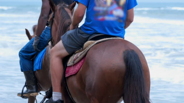Slow Motion: Two Young Men Riding Horses by the Ocean