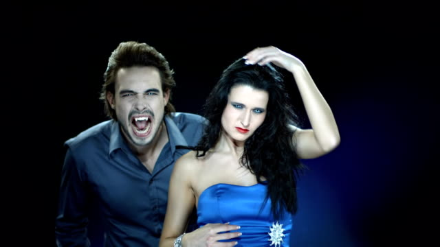hd slow motion: vampire biting beautiful woman - vampire stock videos and b-roll footage