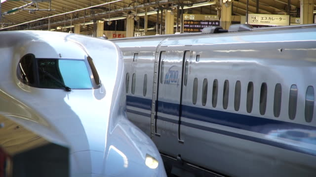 slow motion video of a classic bullet train at tokyo central station - japan 20109. - japan stock videos & royalty-free footage