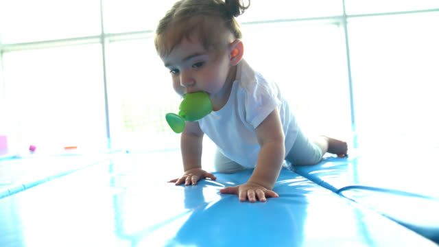 Slow Motion Video Of Baby Girl Crawling