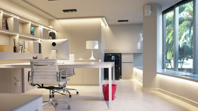 Slow Motion Video of Elegant Modern Office Decor in Professional Design Studio