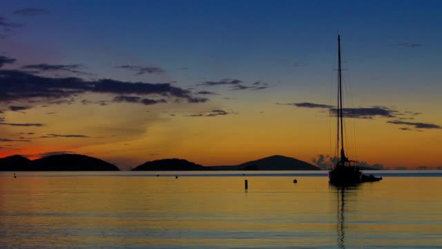 slow motion video of maho bay, st.john, usvi during sunset - st. john virgin islands stock videos & royalty-free footage