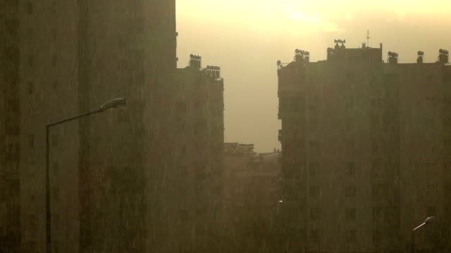 Slow Motion Video Of Raindrops In City