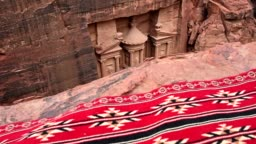 Slow motion video of the beautiful Al Khazneh (The Treasury) seen from above, Petra.
