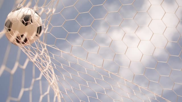 vídeos de stock e filmes b-roll de slow motion, white soccer ball, football goal, net - ball