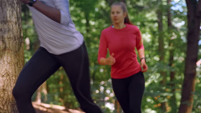 slo mo two women running on a forest trail in sunshine - cross country running stock videos & royalty-free footage
