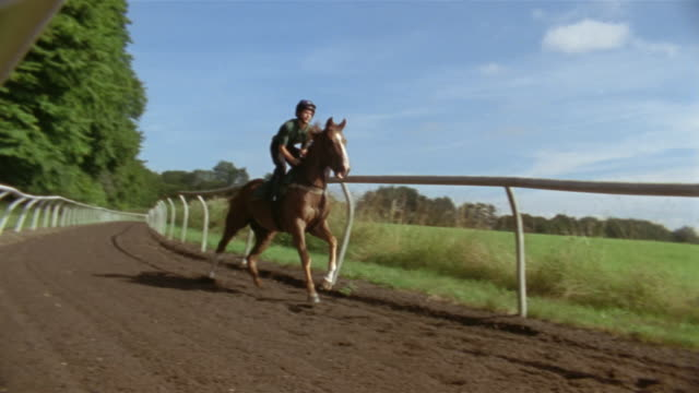 slow motion wide shot pan jockey riding horse on dirt track/ berkshire, england - see other clips from this shoot 997 stock videos and b-roll footage
