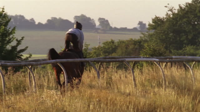 slow motion wide shot pan jockey riding horse on track/ berkshire, england - see other clips from this shoot 997 stock videos and b-roll footage