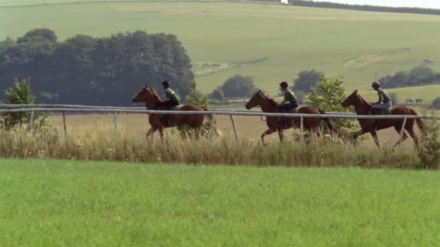 slow motion wide shot pan three jockeys riding horses on country track/ berkshire, england - see other clips from this shoot 997 stock videos and b-roll footage