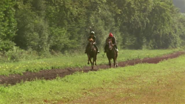 vídeos de stock, filmes e b-roll de slow motion wide shot two jockeys riding horses on country dirt track/ berkshire, england - montar um animal