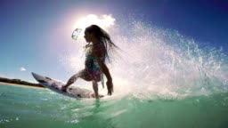 Slow Motion Woman Kite Surfing, Extreme Sport