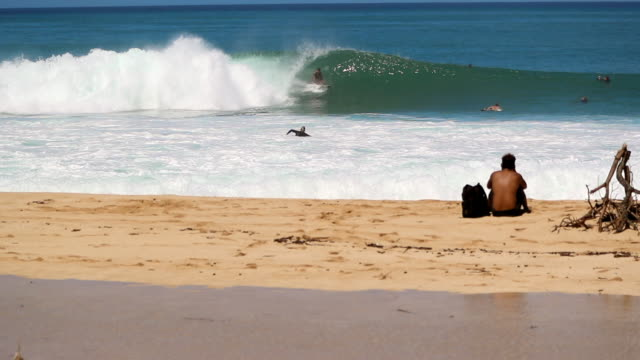 vídeos de stock, filmes e b-roll de slow motion young man sitting on beach & surfer catching wave in background - pipeline wave