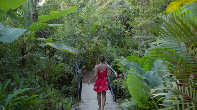slow motion: young woman stepping onto small bridge among tropical plants in el limon, dominican republic - sundress stock videos & royalty-free footage