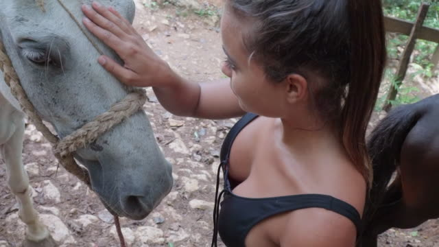 Slow Motion: Young Woman Stroking Between Grey Horse's Eyes in El Limon, Dominican Republic