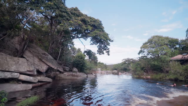 vídeos de stock, filmes e b-roll de slow motion/pan down: small pond surrounded by trees and stones in chapada, brazil - panning