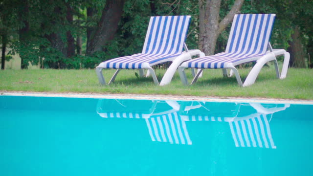 Slow motion:pool scenery and trees