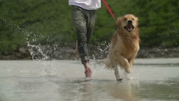 HD Slow motion:Young man and his dog running on the beach.