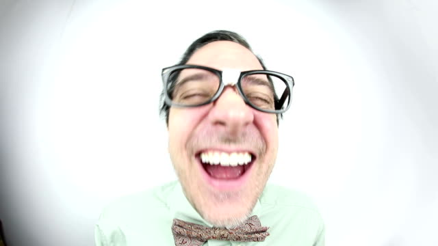 slow motioo fisheye nerd laughing - hysteria stock videos & royalty-free footage