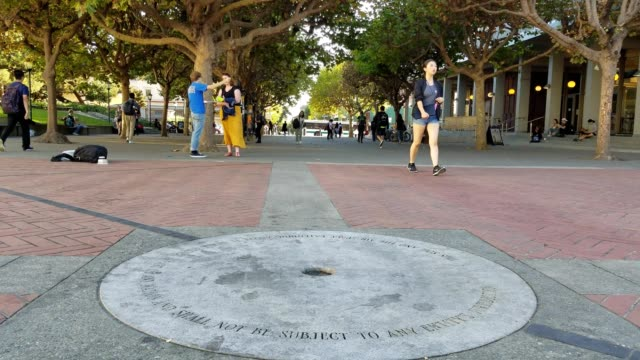 Slow pan down to Free Speech Monument in Sproul Plaza at UC Berkeley with students walking past in front of Sproul Hall a focal point of 2017...