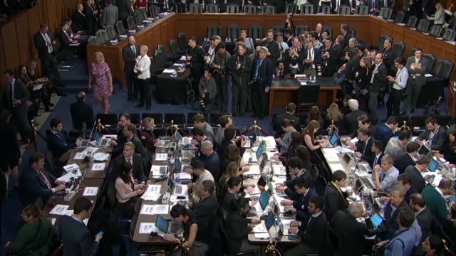 slow pan from above in a senate hearing room prior to facebook founder and ceo mark zuckerberg was set to deliver testimony before the senate... - founder stock videos and b-roll footage