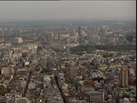Slow pan left over London skyline from BT Tower