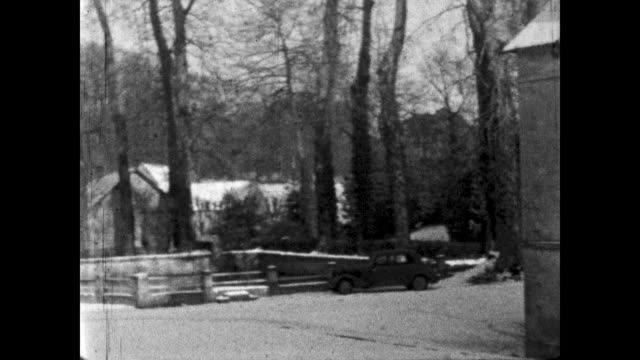 slow pan of a french estate in nazi-occupied france during wwii. - winter stock videos & royalty-free footage