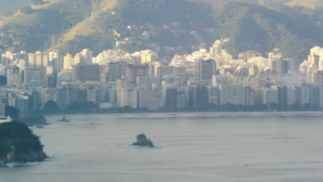 slow pan of beachfront rio - bay of water stock videos & royalty-free footage