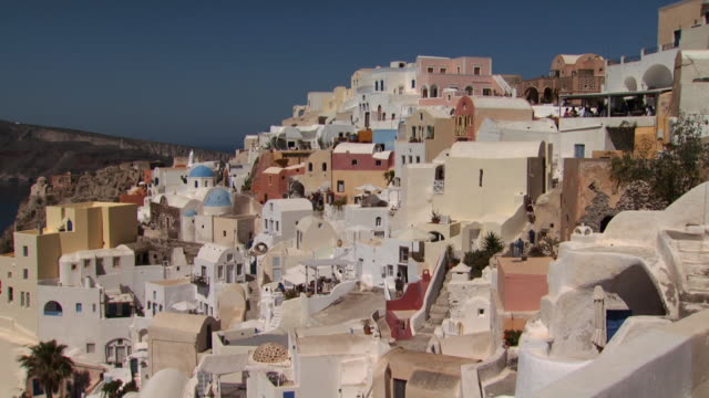 Slow pan of Santorini