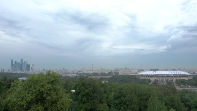 Slow pan over Moscow skyline