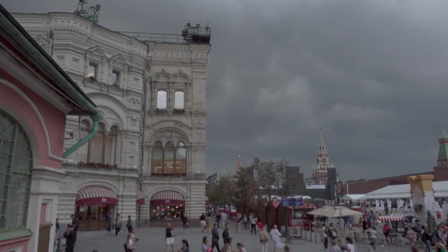 slow pan over red square moscow - cattedrale video stock e b–roll