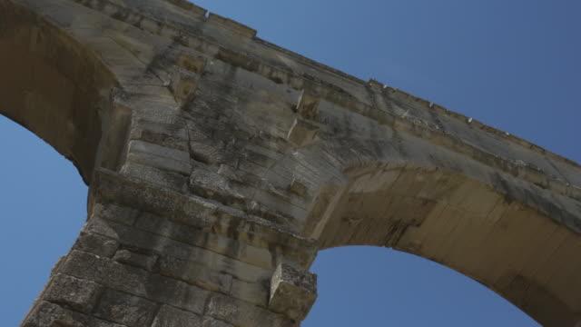 Slow pan over roman aqueduct  Pont du Gard