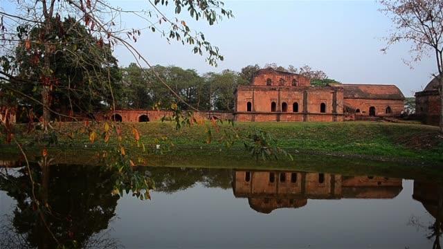 Slow pan shot of Talatal Ghar,Ahom kings Architecture.
