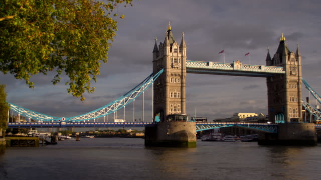 Slow panning view of Tower Bridge in London, England.