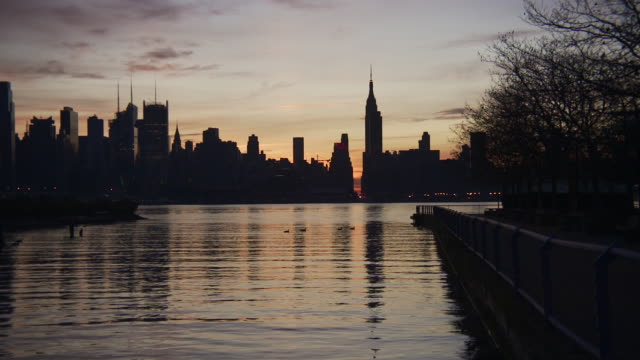 slow reveal silhouette of the new york city skyline from new jersey showing the hudson river, the empire state building, the new yorker, and the chrysler building at sunrise - gruppo medio di animali video stock e b–roll