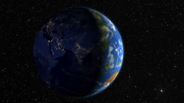 Slow rotation of the Earth as seen from space