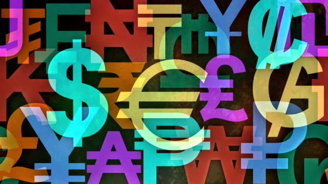 slow scrolling colorful background made from worldwide currency symbols - currency symbol stock videos & royalty-free footage
