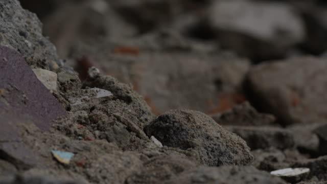 barabise, nepal - july 31, 2015: slow tilt up rubble - rubble stock-videos und b-roll-filmmaterial